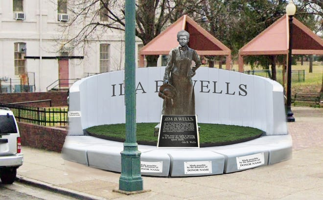 A proposed visual shows the conceptual 'Ida B. Wells Plaza,' which organizers hope to install in 2021.