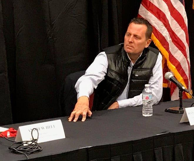 "Richard Grenell, former acting director of national intelligence, listens during a GOP-sponsored roundtable discussion on ""law and order"" at Crowne Plaza Milwaukee West in Wauwatosa on Friday."