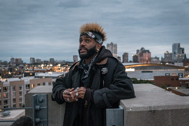 Milwaukee Arts Board has named hip-hop performer Klassik one of its Artists of the Year. He is seen here performing a rooftop concert with Present Music in 2020.