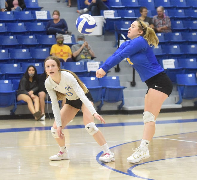 Mountain Home's Riley Straka passes the ball during the Lady Bombers' victory over Alma on Thursday night.