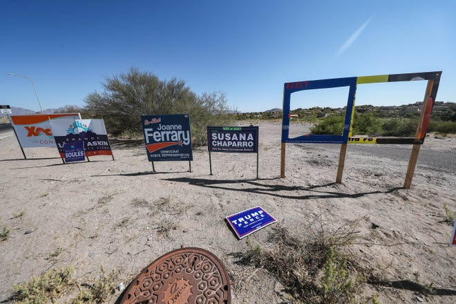 Political campaign signs appear to be vandalized in Las Cruces. Signs pictured on Wednesday, Oct. 21, 2020.