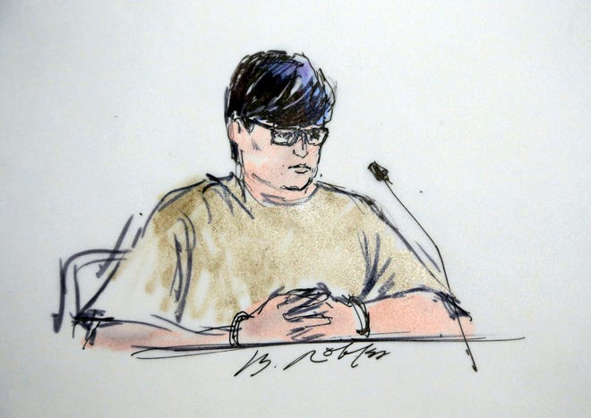 This Dec. 17, 2015, file courtroom sketch shows Enrique Marquez Jr, in federal court in Riverside, Calif.