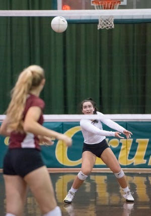 Madison Galloway (1) plays the ball during the Jacksonville Episcopal vs Catholic Region 1-3A quarterfinal volleyball match at Pensacola Catholic High School on Thursday, Oct, 22, 2020.