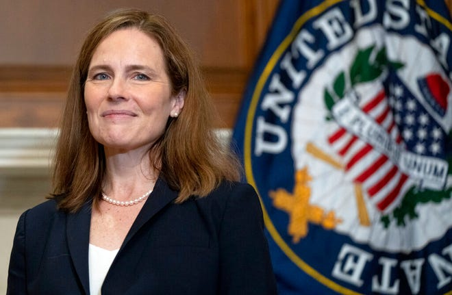 Supreme Court nominee Amy Coney Barrett meets with senators on Oct. 21, 2020, on Capitol Hill in Washington, D.C.