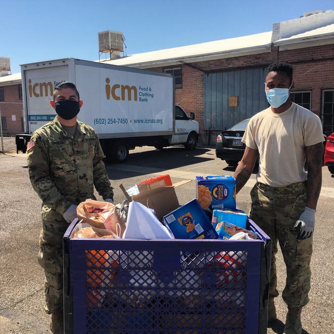 Instead of volunteers from the community, the nonprofit Nourish Phoenix gets help from 10 members of the Arizona National Guard.