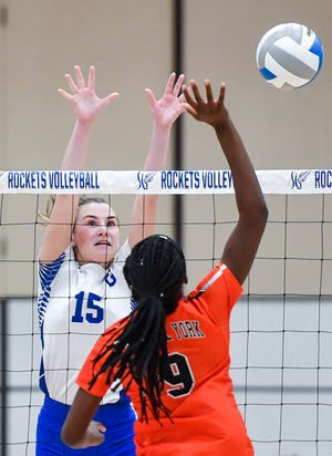 Spring Grove's Angalyn Strouse is seen here in action against Central York earlier this season. Strouse had nine kills on Thursday in the Rockets' win over Northeastern.