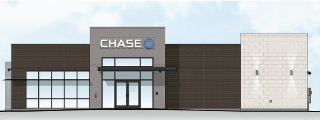 A rendering shows the Chase bank branch planned for Sioux Falls' new Empire Place shopping center.