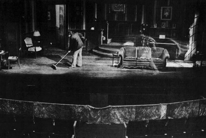 This image taken at the Orpheum Theatre in 1981 used a bit of trickery to give the appearance of a ghost.
