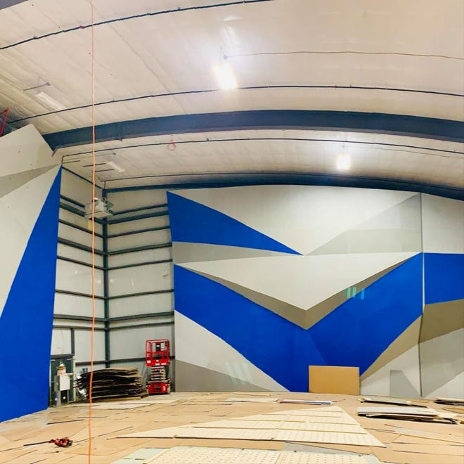 A photo of the interior of Frontier Climbing in eastern Sioux Falls. Frontier owners are hoping to open the rock climbing facility in November.