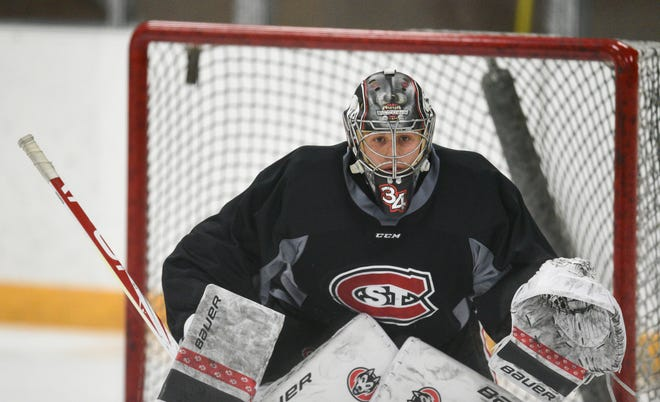 St. Cloud State senior David Hrenak waits for a shot in net Thursday, Oct. 22, 2020, at Herb Brooks National Hockey Center.