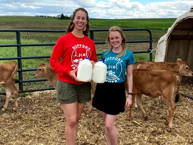 Sydney Endres (left) and Mariah Martin (right) have raised $14,000 for dairy farmers and food banks and are hoping to raise another $6,000 by the end of the year.