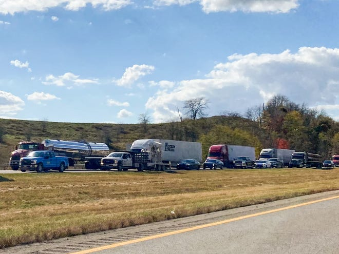 Traffic was backed up for miles Thursday afternoon due to a crash involving a pair of semi-trucks on I-70.