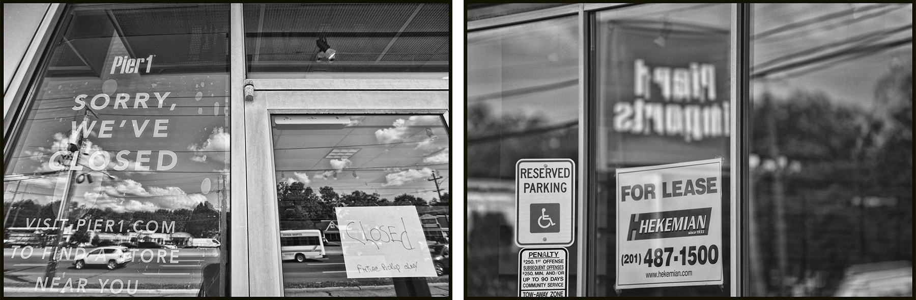 Pier 1's storefront features closed and for lease signs.