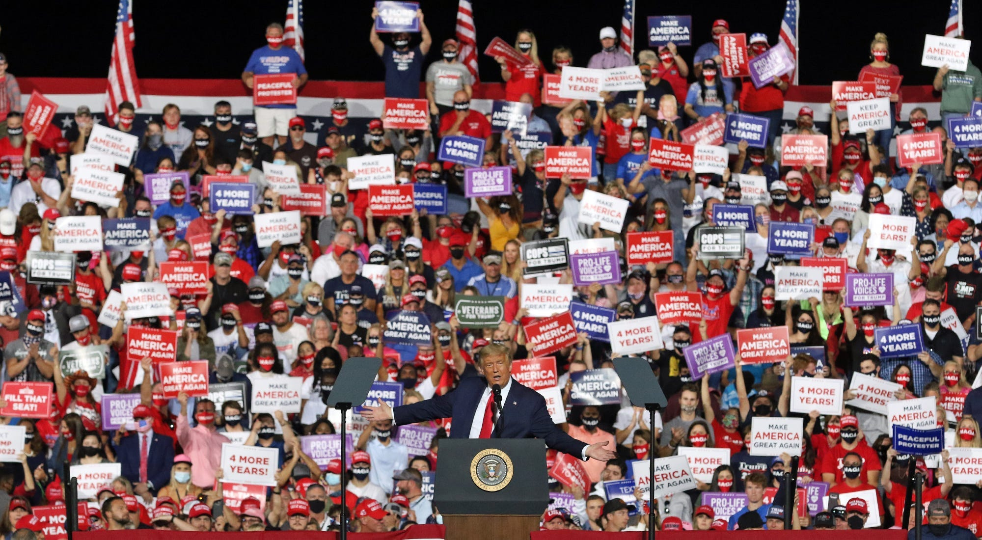 President Donald Trump speaks Wednesday evening, Oct. 21, 2020, as he held a rally outside under the stars at the Gastonia Municipal Airport in North Carolina.