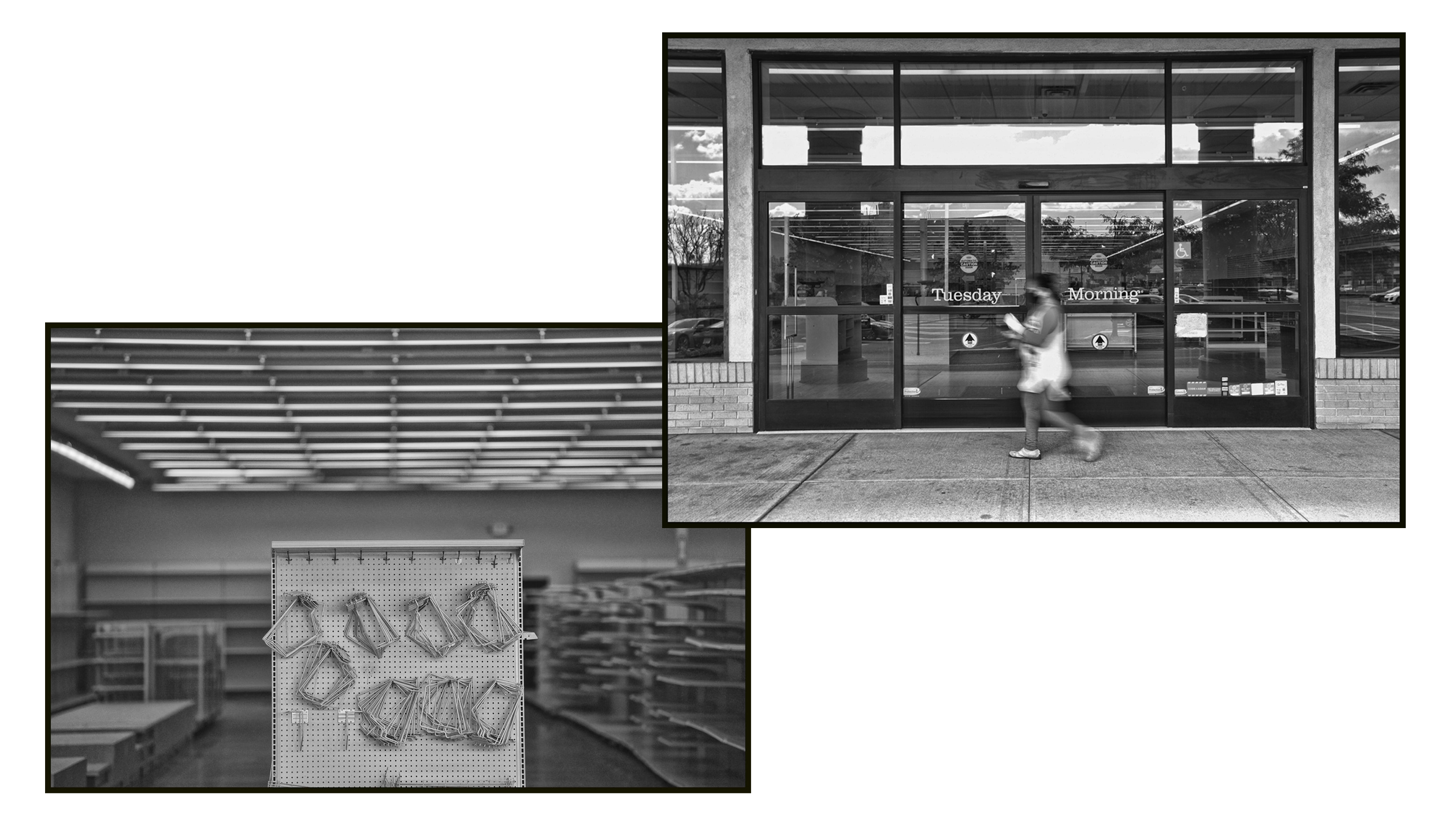 A shopper walks past the storefront of Tuesday Morning on Route 4 in Paramus. Its shelves are empty.