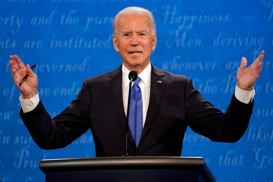 Democratic nominee Joe Biden speaks during the final presidential at Belmont University in Nashville, Tennessee.