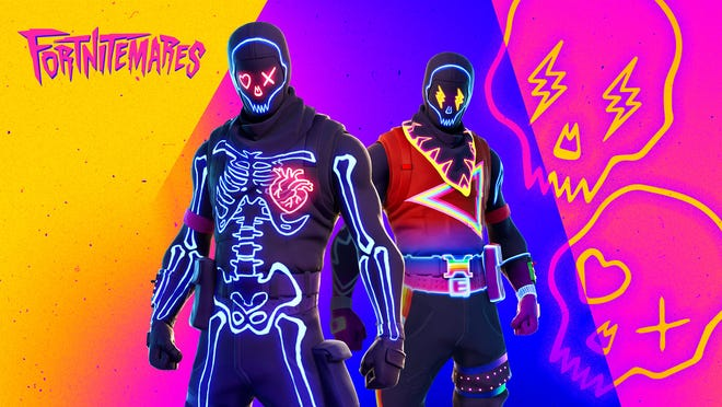A screenshot of Party Trooper skins available in Fortnite for its Fortnitemares event.