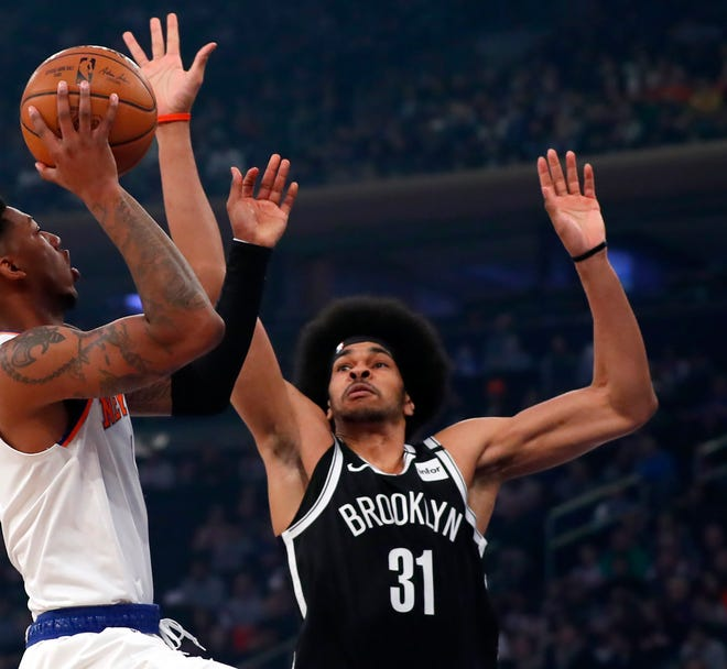 Cavaliers forward Larry Nance is excited to team up with Jarrett Allen, above, who was acquired in the four-team trade on Wednesday involving James Harden. Nance believes he and Allen will make a formidable defensive combination. [USA TODAY Network]