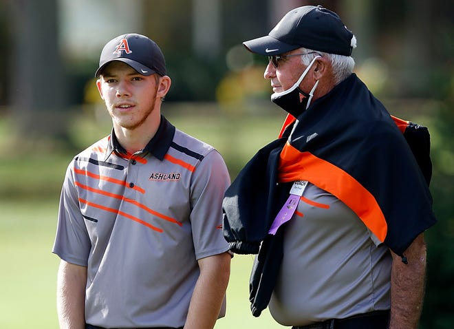 Ashland boys golf coach Dan Priest talks with Tyler Sabo during last year's state tournament.