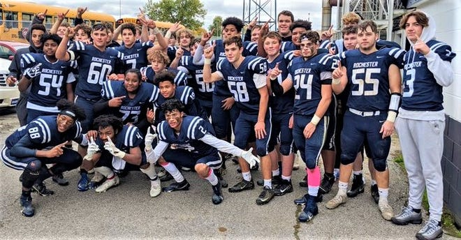After finishing a 13-0 win over Shenango on Saturday afternoon, the Rochester Rams pose for a team photo. They are the top seed out of the 1A Big Seven Conference and will start the upcoming playoffs with a home game at Rochester Stadium.