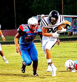 Rosepine receiver Cole Donahue (80) reeled in just two catches on Friday night for 45 yards in the Eagles' loss to Kinder.