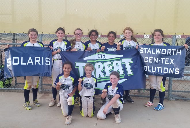 12U CTX Threat placed 1st at the Elite Cleats tournament in Brownwood Oct. 17  with a 6-1 record. Pictured are bottom row (left to right) Cassie Rangel, Brooke Wright and Paizlee Scott. Back row Mattisyn Taylor, Xaley Ruedas, Cheyenne Rush, Leslie Rios, Mariah Ruiz, Rylee Tupin and Dayla Ray. Not pictured are head coach Preston Rush and assistant coaches Derek Ray, Rusty Tupin and Jonathon Wright.