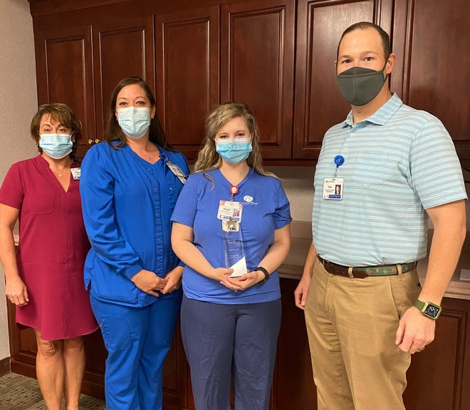Right to Left Jace Jones, BRMC Chief Executive Officer, Morgan Petry, RN, Hannah Hudson, RN Director of Inpatient Admissions Med/Tele/ICU; and Mikeana Bailey, Human Resource Director