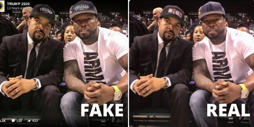 Comparing the fake picture of rappers Ice Cube, left, and 50 Cent, digitally altered to make it appear as if they were wearing Trump hats, vs. the real photo, taken from Ice Cube's Twitter feed in early July 2020.
