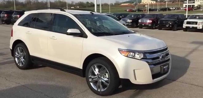 Jacksonville police are asking the public for help tracing the path of a  white 2013 Ford Edge sport utility vehicle like the one pictured. A man who had been fatally shot drove it to West 41st Street before he died Tuesday afternoon, police said.