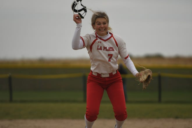La Plata pitcher Olivia Coy celebrates after beating Braymer in the Class 1 state quarterfinals.