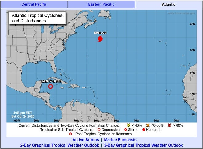A tropical depression formed Saturday afternoon south of Cuba amid forecasts that the system would become a named tropical storm later this weekend and possibly a hurricane within days, the U.S. National Hurricane Center said.