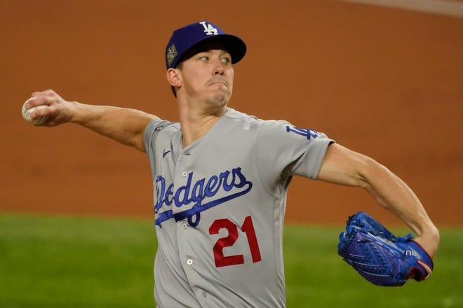 Los Angeles Dodgers starting pitcher Walker Buehler throws against the Tampa Bay Rays during the first inning in Game 3 of the World Series on Friday in Arlington, Texas.