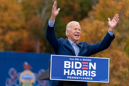 Democratic presidential candidate former Vice President Joe Biden speaks at a drive-in campaign stop at Bucks County Community College, Saturday, Oct. 24, 2020, in Bristol, Pa.