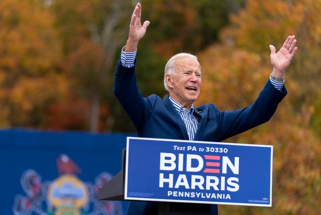 Democratic presidential candidate former Vice President Joe Biden speaks at a campaign stop Saturday in Bristol, Pa.