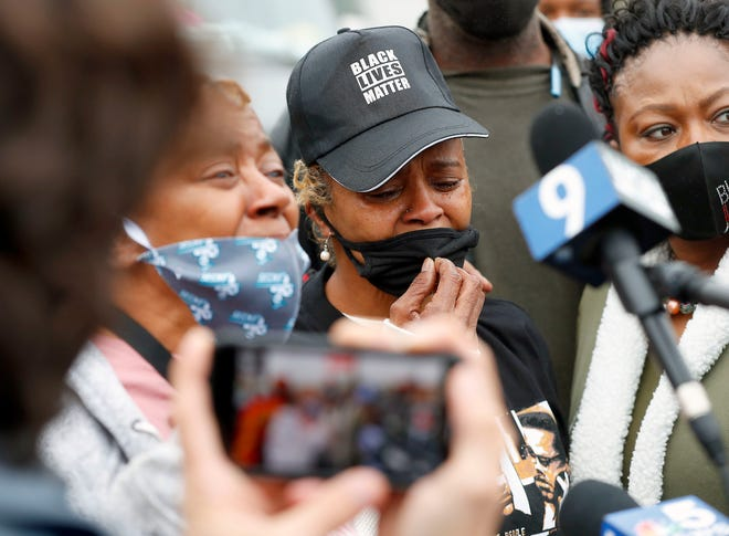 Sherrellis Sheria Stinnette, grandmother of Marcellis Stinnette, 19, speaks to the media during a protest rally for Marcellis Stinnette who was killed by Waukegan Police on Tuesday in Waukegan, Ill., on Thursday. Stinnette was killed and his girlfriend and mother of his child, Tafara Williams, was wounded when a police officer in Waukegan opened fire Tuesday night after police said Williams' vehicle started rolling toward the officer following a traffic stop.