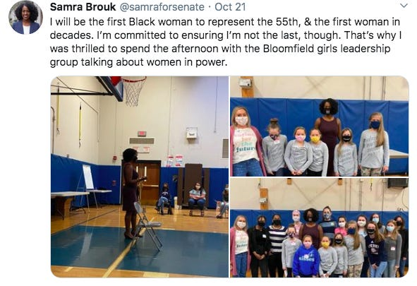 This is a screen shot of a tweet that 55th State Senate candidate Samra Brouk shared after speaking to Bloomfield students.