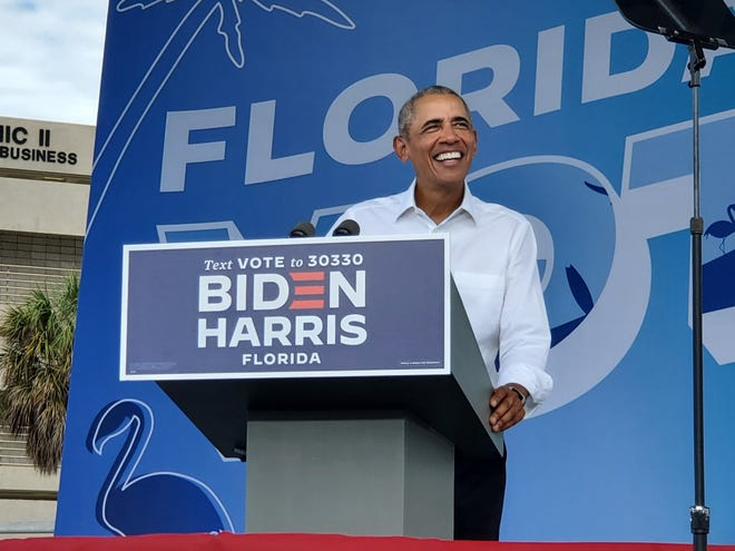 Former President Barack Obama speaks to a crowd in Miami on Oct. 24, 2020.