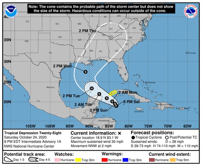 Tropical Depression 28 developed Saturday afternoon from a low-pressure area 255 miles southwest of Cuba's western tip.