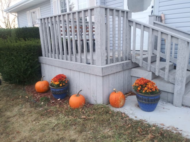 Bright orange pumpkins help create a festive display for fall and the Halloween holiday in a Pratt front yard.