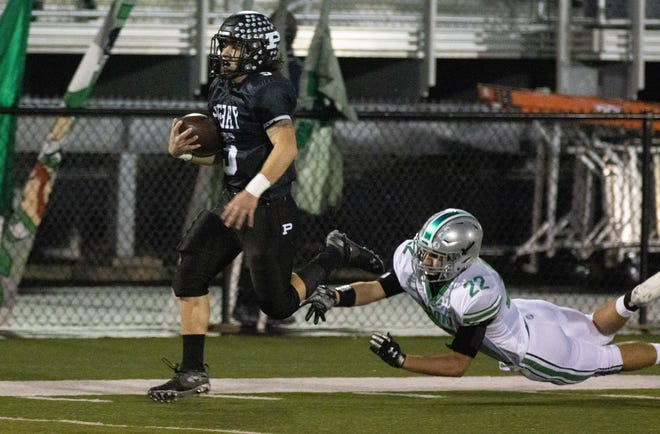 Perry's Dominic Vinas takes the opening kickoff for a school-record 98-yard touchdown last week against Dublin Scioto. Oct. 23, 2020.