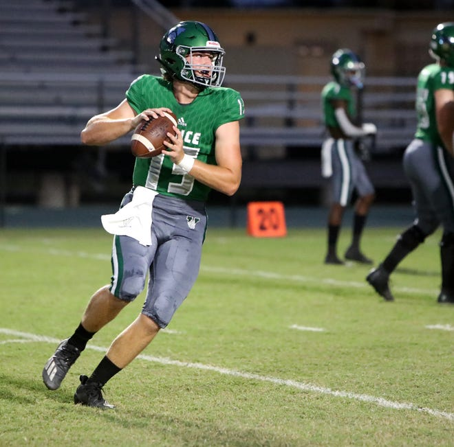 The Venice High football team hopes to give quarterback Colin Blazek time to throw to a talented group of receivers in Friday's Class 7A-Region 4 final against St. Thomas Aquinas in Fort Lauderdale.