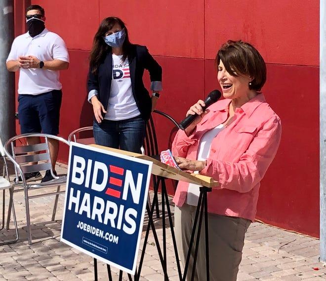 U.S. Sen. Amy Klobuchar stumped for Joe Biden at Payne Park in Sarasota Saturday