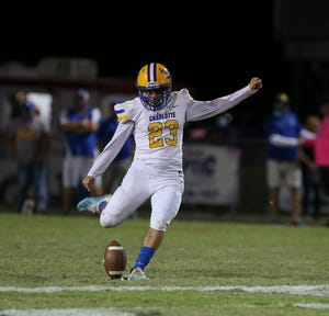Tyler Amaral kicks off for Charlotte against Port Charlotte. Amaral was the hero for the Tarpons with a field goal with 2.5 seconds left in a 31-28 Charlotte victory.