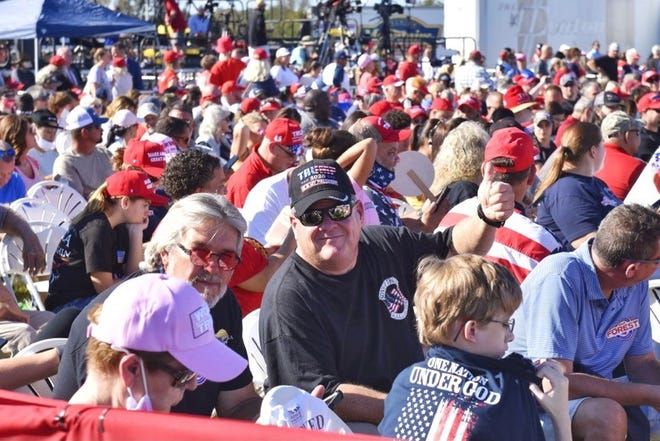 People await President Donald Trump's speech Saturday, Oct. 24, 2020, at the Robeson County Fairgrounds in Lumberton.