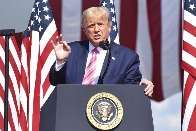 President Donald Trump speaks Saturday at the Robeson County Fairgrounds in Lumberton.