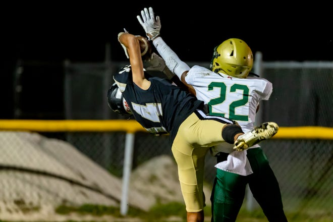 Buchholz wide receiver Adrian Sermons (14) makes the catch for a touchdown against Fleming Island on Friday in Gainesville.