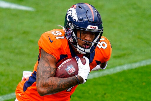 Denver wide receiver Tim Patrick has become the top target as the Broncos prepare for today's game against Kansas City [AP photo/Jack Dempsey]