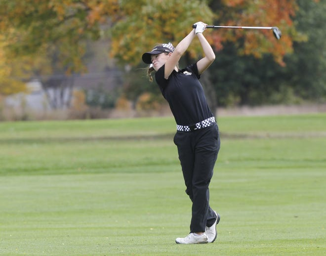 Madison Spiess led New Albany in the Division I state tournament Oct. 23 and 24 at Ohio State's Gray Course, shooting a 141 to earn medalist honors as the Eagles won their third consecutive state championship.