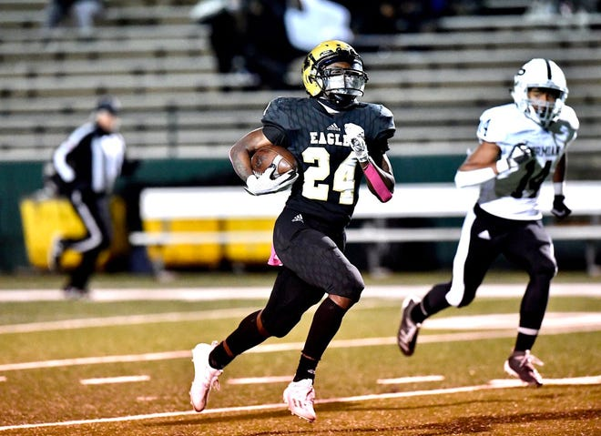 Abilene High receiver Jeshari Houston (24) finishes off a 75-yard touchdown reception during the District 2-6A game against Odessa Permian on Oct. 23 at Shotwell Stadium.