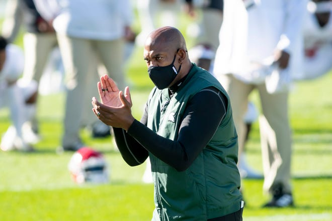 Michigan State head coach Mel Tucker directs his players before the start of the first game of the season against Rutgers, at Spartan Stadium, in East Lansing, October 24, 2020.